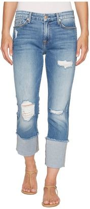 7 For All Mankind Fashion Boyfriend Jeans w/ Wide Raw Cuff Destroy in Vintage Air Classic 3 Women's Jeans