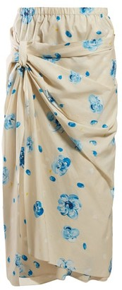 Marni Iride Floral Print Cotton Midi Skirt - Womens - Blue Print