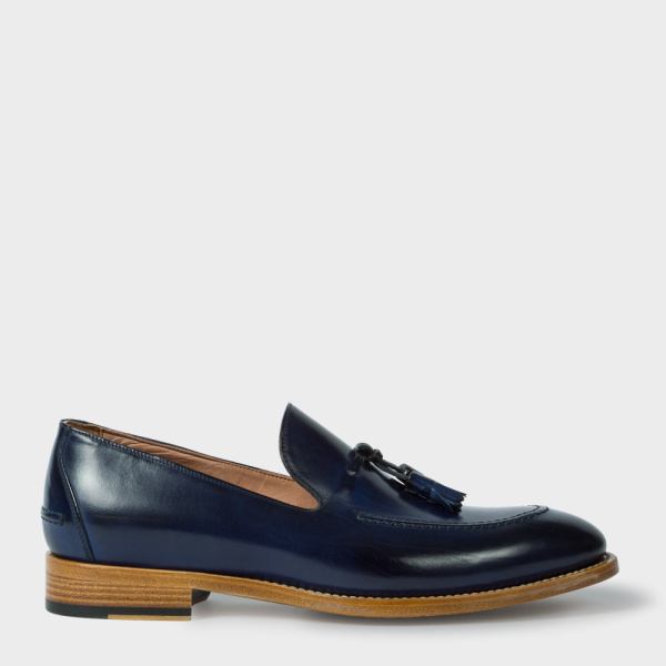 Paul SmithMen's Navy Calf Leather 'Haring' Tasseled Loafers