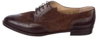 Salvatore Ferragamo Brogue Suede Oxfords