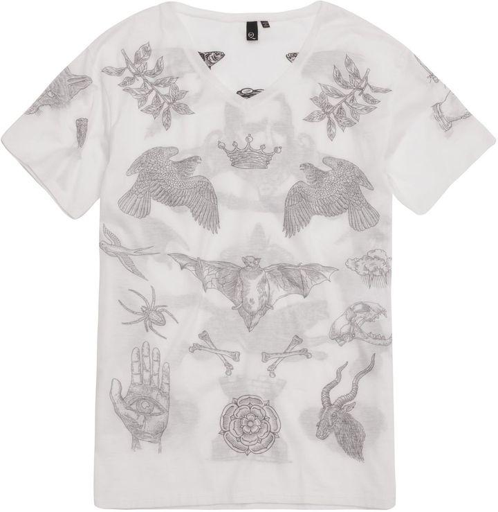 McQ by Alexander McQueen Bird Tattoo Print T-Shirt