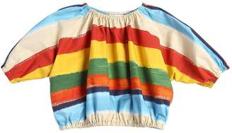 Dolce & Gabbana Stripes Printed Cotton Crop Top