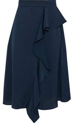 Iris & Ink Cher Ruffled Hammered-Satin Skirt