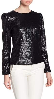 Nicole Miller Puff Sleeve Sequin Blouse