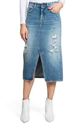 PRPS Split Front Distressed Denim Midi Skirt