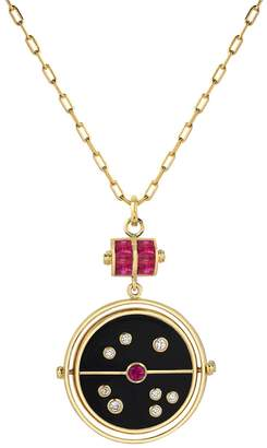 Retrouvaí Grandfather Ruby Black Onyx Compass Necklace