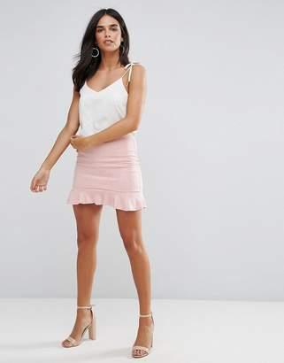AX Paris Pink Suede Frill Hem Mini Skirt