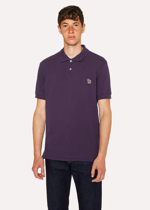 Paul Smith Men's Dark Violet Organic Cotton-Pique Zebra Logo Polo Shirt