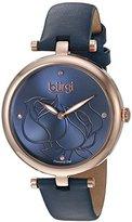 Burgi レディースbur151buローズゴールドクォーツ腕時計ブルーダイヤモンドダイヤルとブルーレザーストラップ