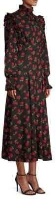 Michael Kors Crushed Ruffle Rose-Print Midi Dress
