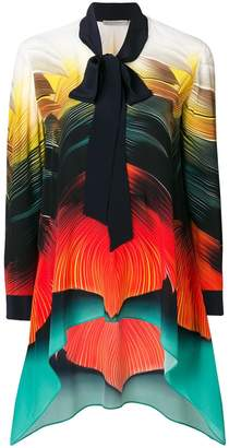 Mary Katrantzou asymmetric hem bow blouse