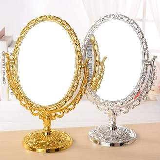 "Kadell 11.4"" Double Sided Table Top 360 Degree Antique Oval Vintage Desktop Stand Vanity Make Up Mirror"