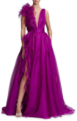 Marchesa Plunging V-Neck Evening Gown w/ Ruffle Slit & Flower-Detail