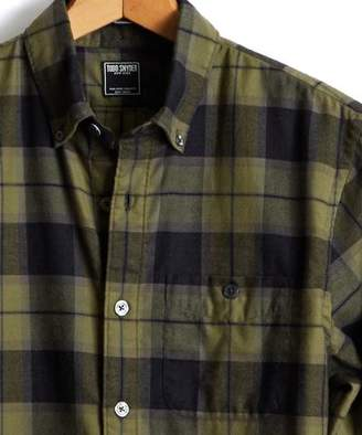 Todd Snyder Button Down Flannel Shirt in Green Plaid