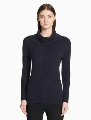 Calvin Klein cowl neck patch pocket pullover sweater