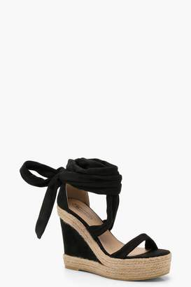 boohoo Wrap Up Espadrille Wedges