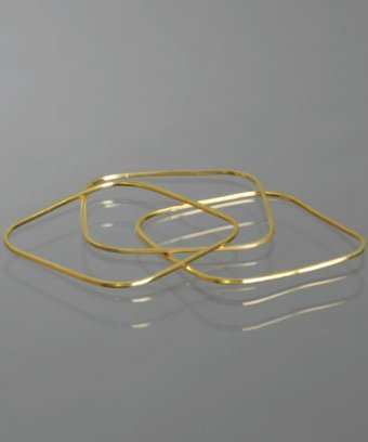 Argento Vivo set of 3 - satin finished vermeil square bangles