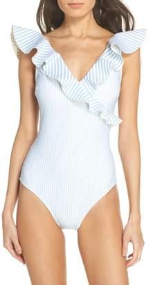 Ted Baker Stripe Ruffle Swimsuit