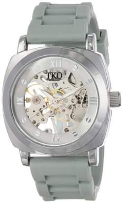 TKO ORLOGI Women's TK627GY See Through Mechanical Skeleton Hand with Grey Rubber Band Watch