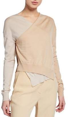 Rosetta Getty Colorblock Wrap Front Long-Sleeve Merino Wool Pullover Sweater