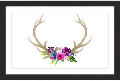 Wayfair 'Floral Antlers' by Dena Cooper Framed Painting Print