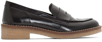 La Redoute Collections Leather Loafers with Crêpe Sole