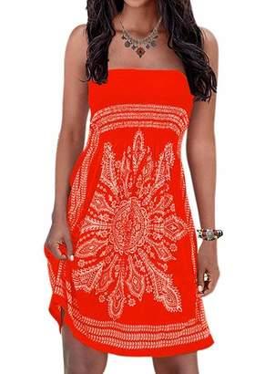 QegarTop Initial Women's Strapleess Floral Print Bohemian Beach Dress Cover-up Dress