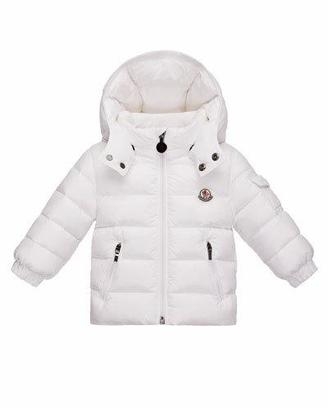 Moncler Jules Zip-Front Puffer Coat, White, Size 12M-3 $340 thestylecure.com