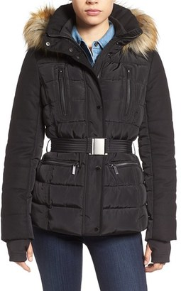 Women's French Connection Belted Quilted Jacket With Faux Fur Trim $228 thestylecure.com