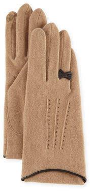 Portolano Cashmere-Blend Gloves w/ Leather Bow