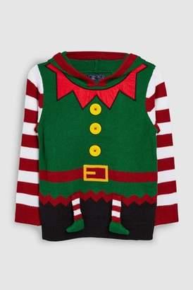 Next Boys Green Older Kids Christmas Elf Jumper (3-16yrs)