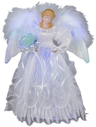 Kurt S. Adler 12-in. LED Fiber Optic White & Silver Angel Christmas Tree Topper