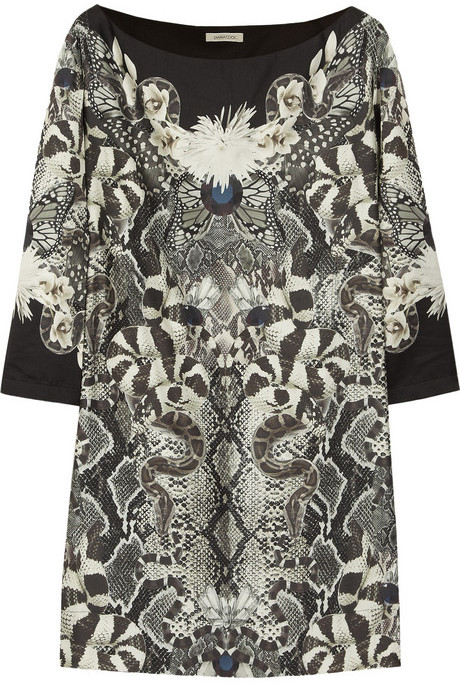Emma Cook Printed cotton and silk-blend mini dress