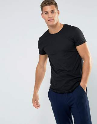 Esprit Longline T-Shirt With Raw Edges In Black
