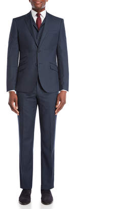 English Laundry 3-Piece Blue Nailhead Wool Suit