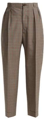Maison Margiela High Waist Tweed Trousers - Womens - Brown Multi