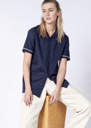 RVCA Neutral Donny Pink Navy Button Up Shirt | Wildfang - Neutral Donny Shirt - CLASSIC INDIGO - SMALL