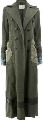Greg Lauren contrast sleeve military coat