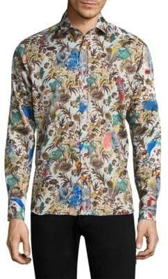 Etro Jungle and Shark Slim-Fit Cotton Button-Down Shirt