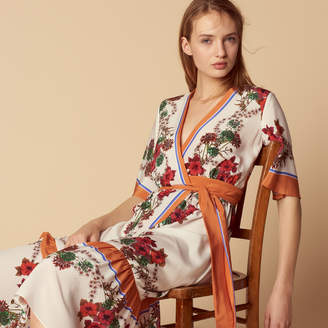 Sandro Printed Wrap Dress