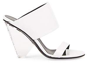 Balmain Women's Lory Angular Logo Heel Sandals