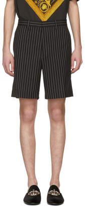 Versace Black and White Pinstripe Shorts