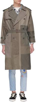 Children of the discordance Belted patchwork twill trench coat