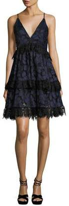 KENDALL + KYLIE Lace Sleeveless Corset Fit & Flare Dress, Navy