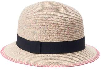 Mudd Women's Pink Splatter Straw Cloche Hat