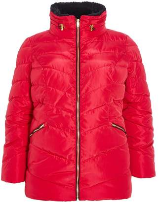 Quiz Curve Red Padded Faux Fur Collar Jacket