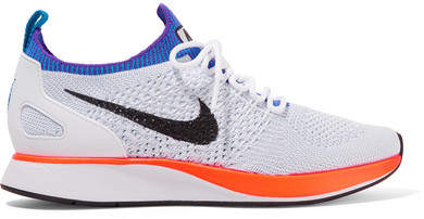 Nike - Air Zoom Mariah Leather-trimmed Flyknit Sneakers - White