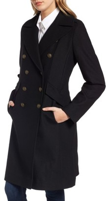 Women's French Connection Long Wool Blend Military Coat $198 thestylecure.com