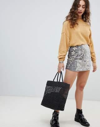 Free People Bright Lights embellished velvet mini skirt