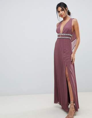 Asos Design DESIGN maxi dress in pleat with embellished tape detail